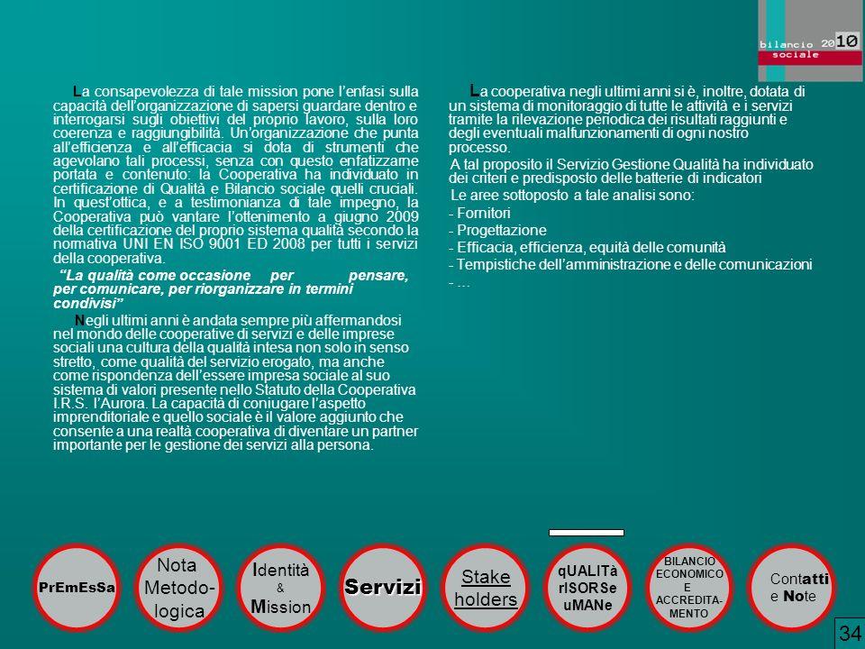 34 Servizi Nota Identità Stake Metodo- holders logica Mission