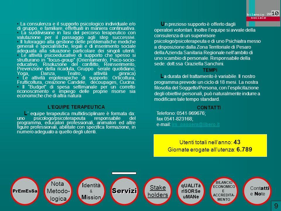 1 9 Servizi Nota Identità Stake Metodo- holders logica Mission