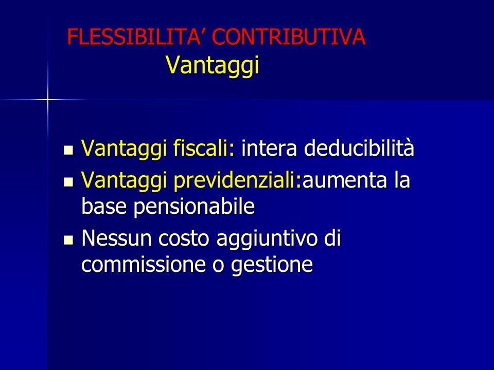 FLESSIBILITA' CONTRIBUTIVA Vantaggi