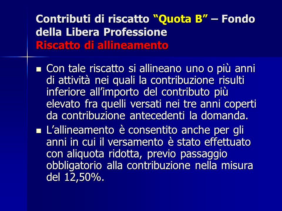 Contributi di riscatto Quota B – Fondo della Libera Professione Riscatto di allineamento