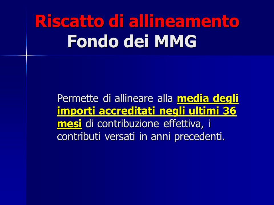 Riscatto di allineamento Fondo dei MMG