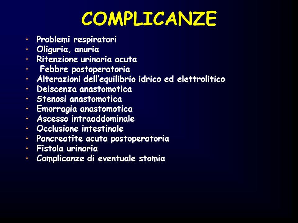 COMPLICANZE Problemi respiratori Oliguria, anuria