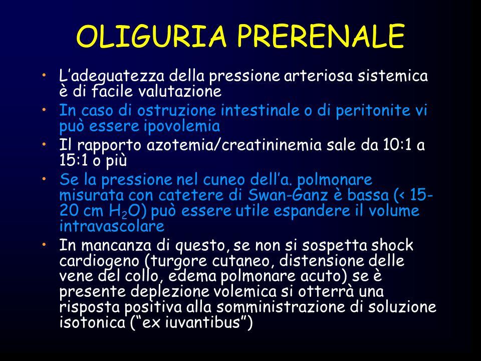 OLIGURIA PRERENALE L'adeguatezza della pressione arteriosa sistemica è di facile valutazione.