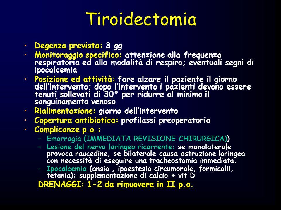 Tiroidectomia Degenza prevista: 3 gg