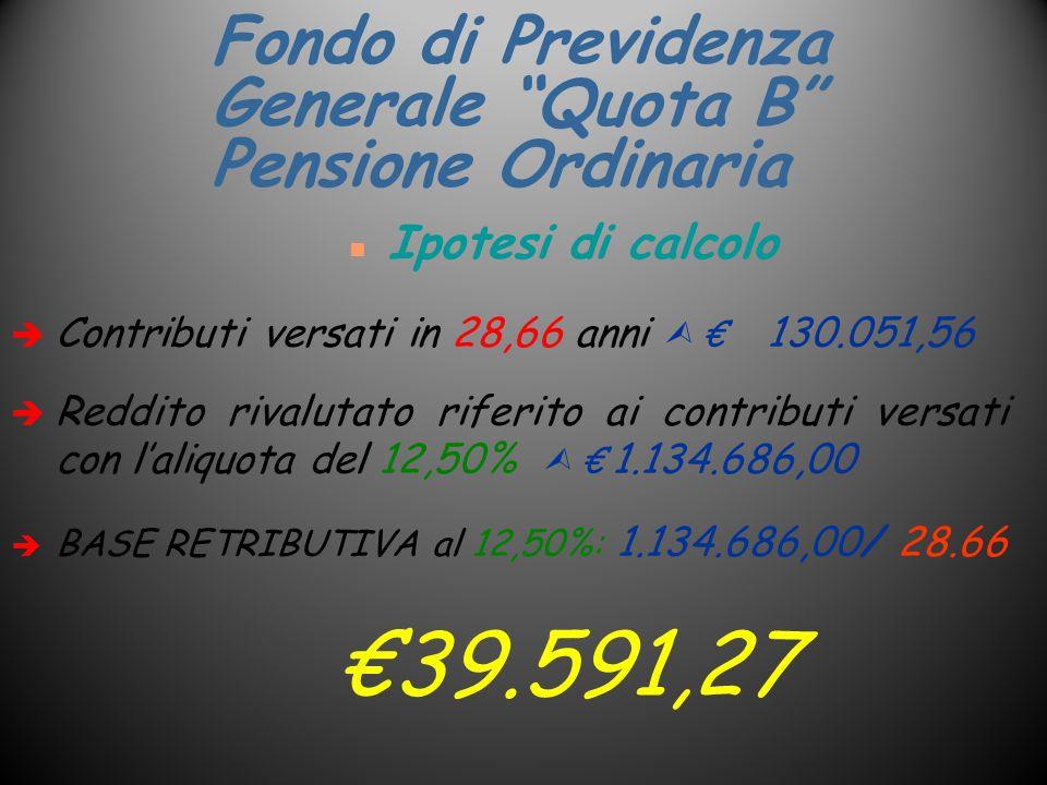 Fondo di Previdenza Generale Quota B Pensione Ordinaria