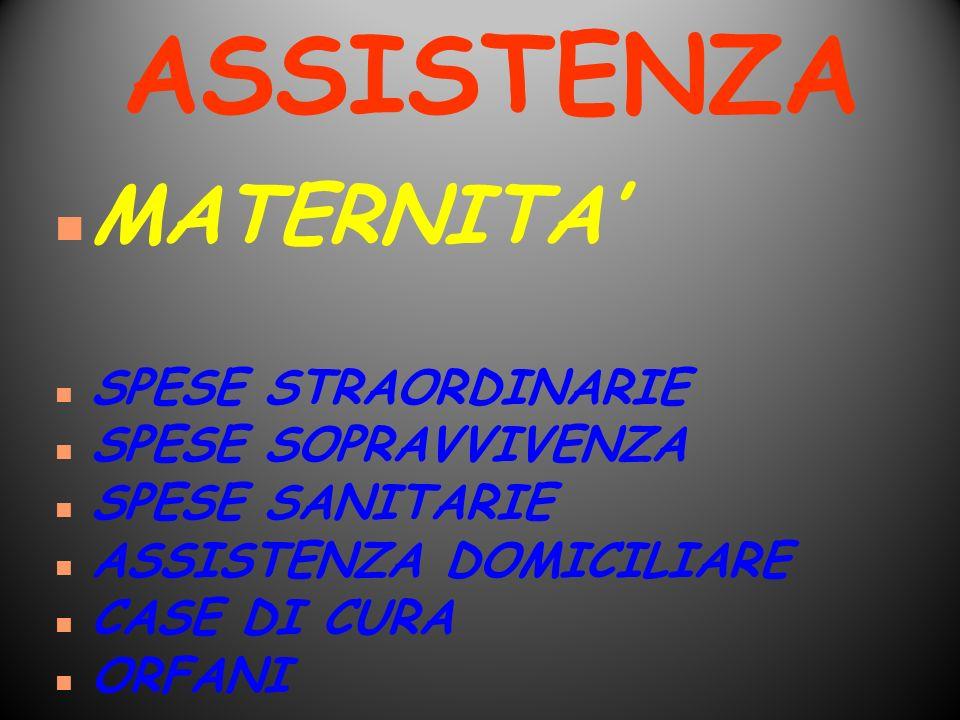 ASSISTENZA MATERNITA' SPESE STRAORDINARIE SPESE SOPRAVVIVENZA
