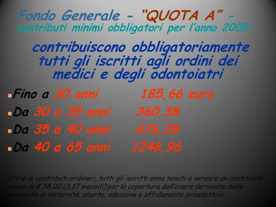 Fondo Generale - QUOTA A -contributi minimi obbligatori per l'anno 2009