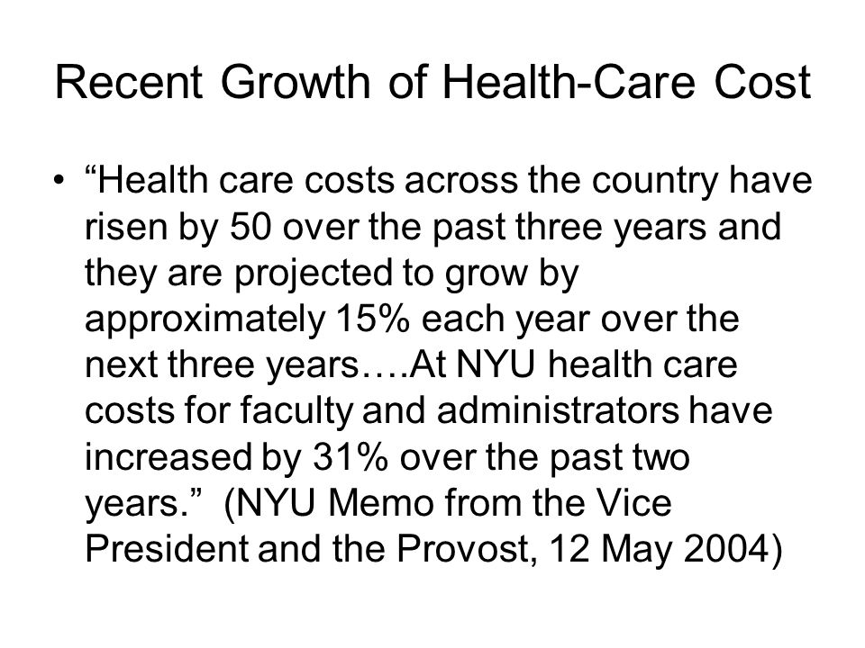 Recent Growth of Health-Care Cost