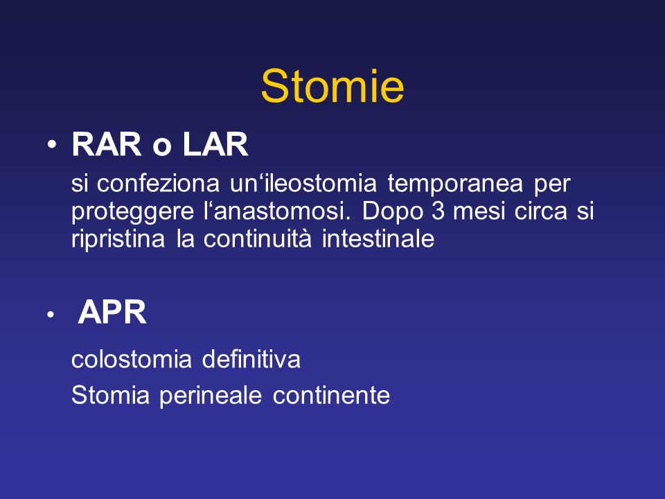 Stomie RAR o LAR colostomia definitiva
