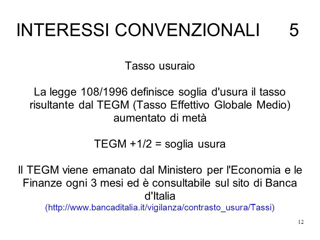 INTERESSI CONVENZIONALI 5