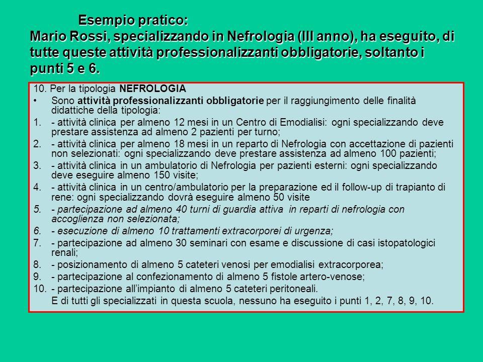 Esempio pratico: Mario Rossi, specializzando in Nefrologia (III anno), ha eseguito, di tutte queste attività professionalizzanti obbligatorie, soltanto i punti 5 e 6.