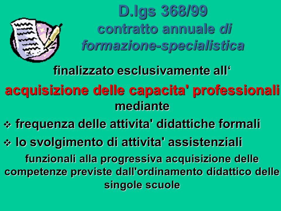 D.lgs 368/99 contratto annuale di formazione-specialistica