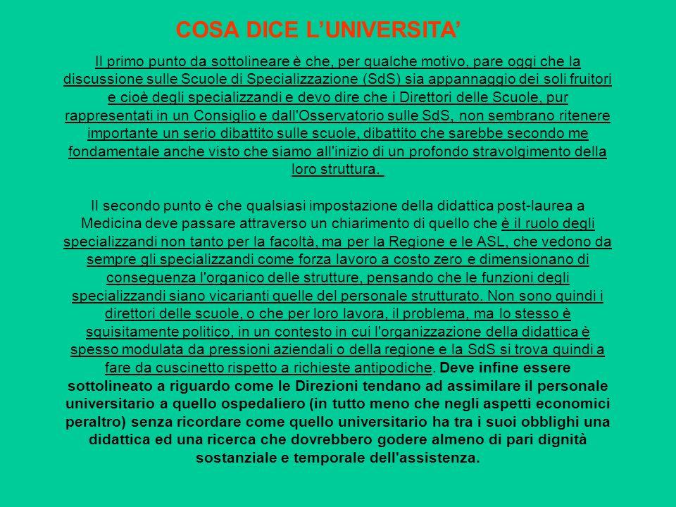 COSA DICE L'UNIVERSITA'