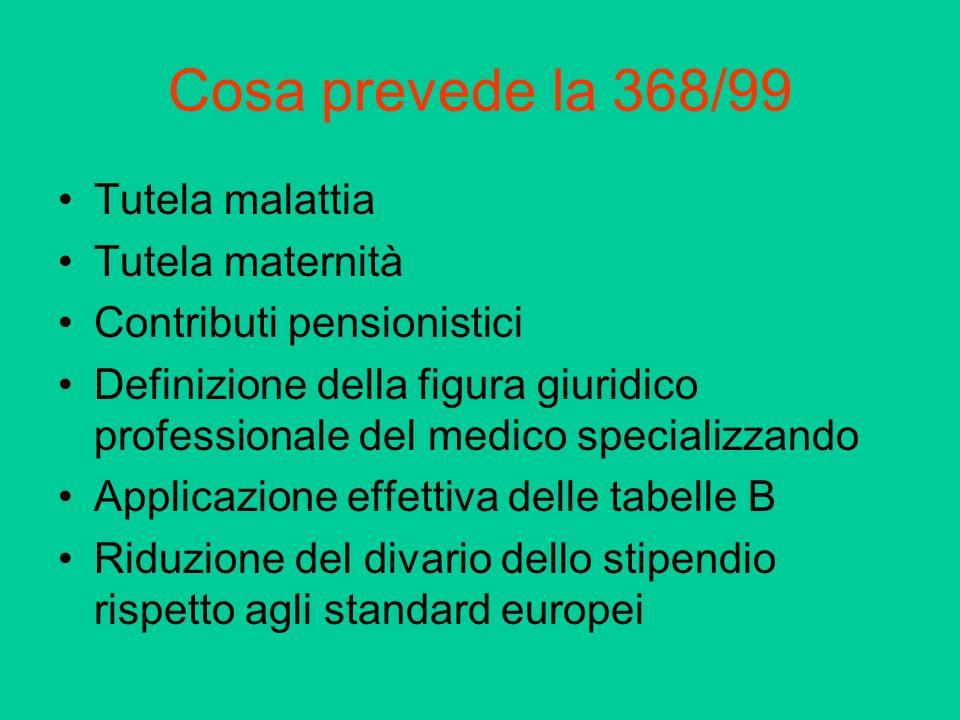 Cosa prevede la 368/99 Tutela malattia Tutela maternità