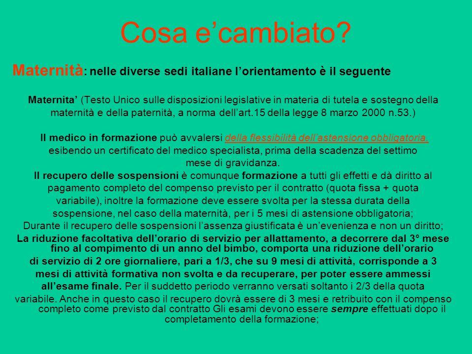 Cosa e'cambiato Maternità: nelle diverse sedi italiane l'orientamento è il seguente.