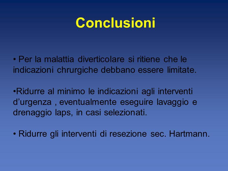 Conclusioni Per la malattia diverticolare si ritiene che le indicazioni chrurgiche debbano essere limitate.