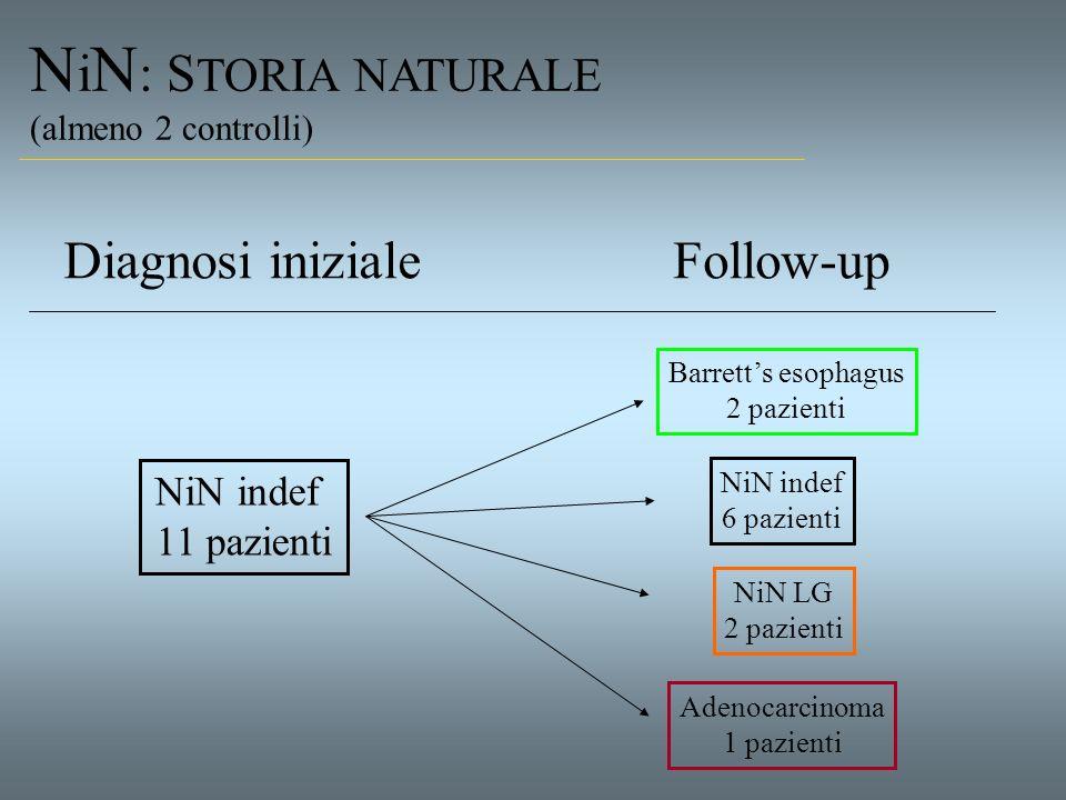 NiN: STORIA NATURALE Diagnosi iniziale Follow-up NiN indef 11 pazienti
