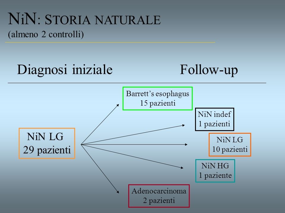 NiN: STORIA NATURALE Diagnosi iniziale Follow-up NiN LG 29 pazienti