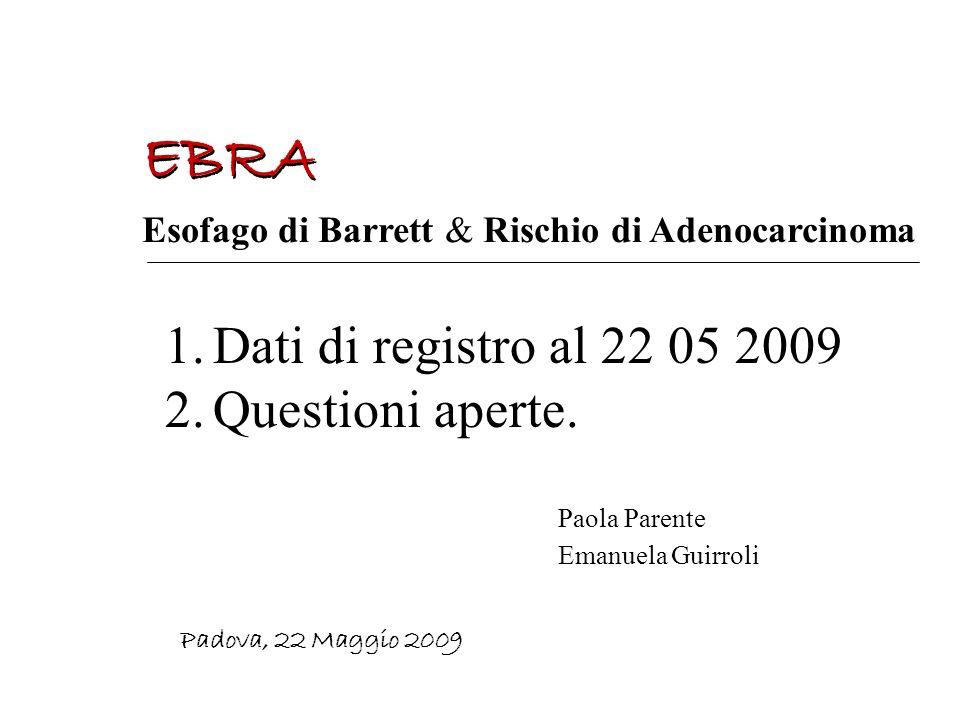 EBRA Dati di registro al 22 05 2009 Questioni aperte.