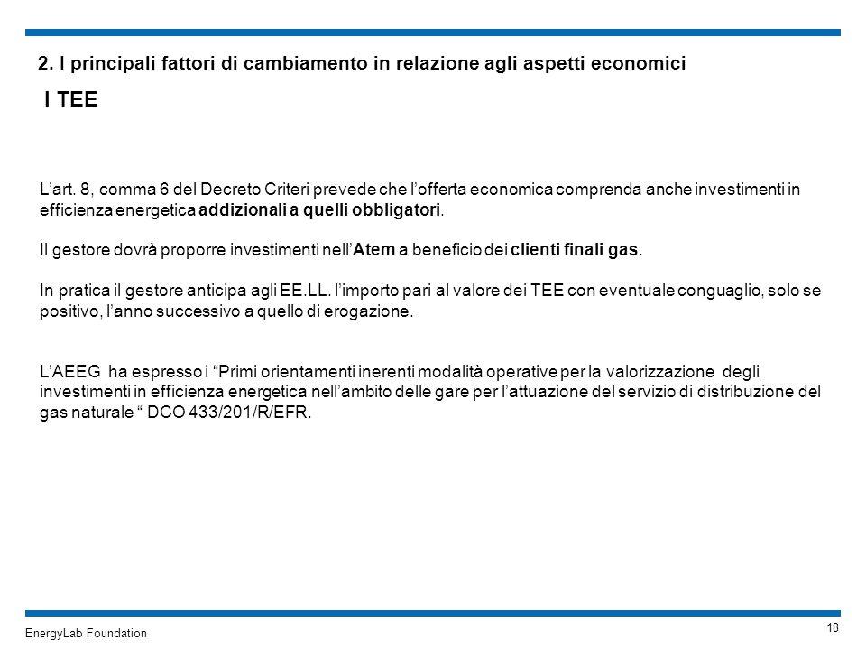 2. I principali fattori di cambiamento in relazione agli aspetti economici