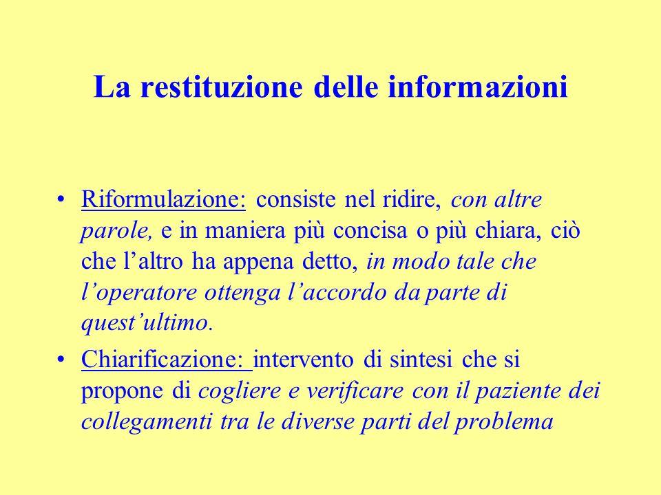 La restituzione delle informazioni