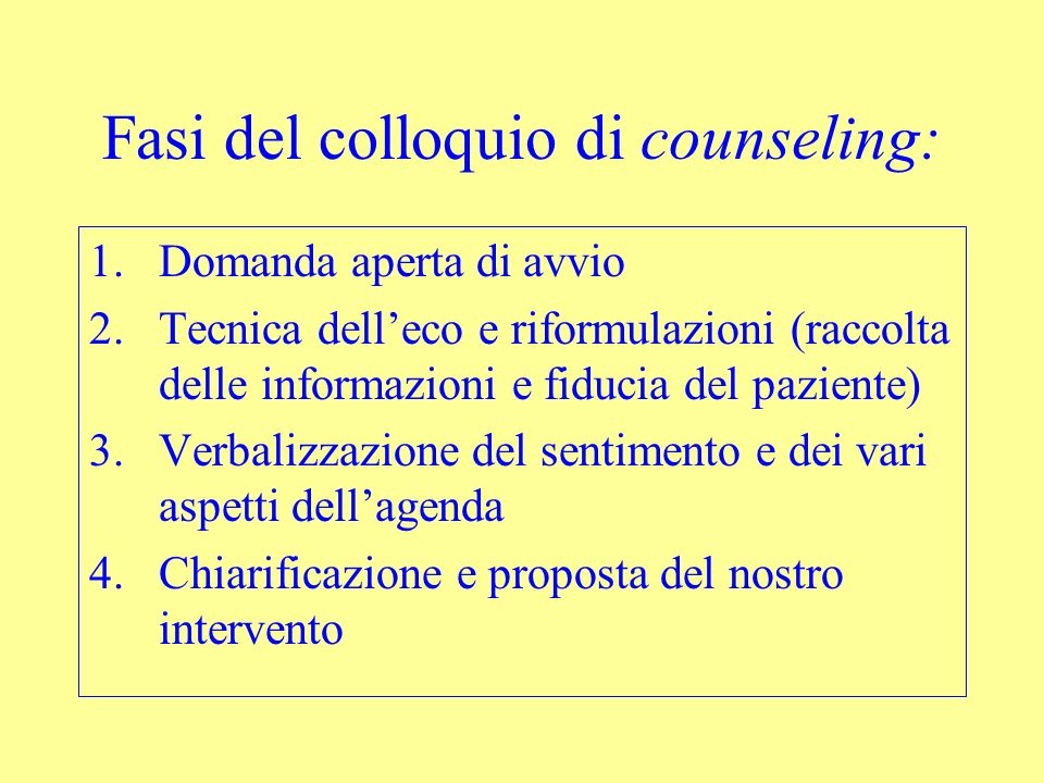 Fasi del colloquio di counseling: