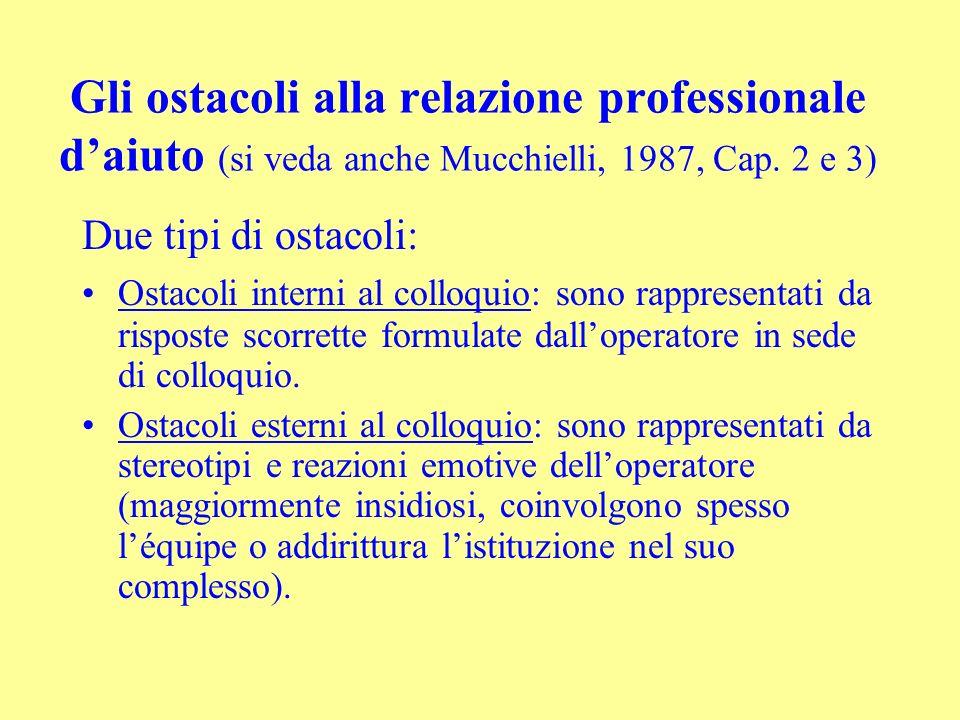Gli ostacoli alla relazione professionale d'aiuto (si veda anche Mucchielli, 1987, Cap. 2 e 3)
