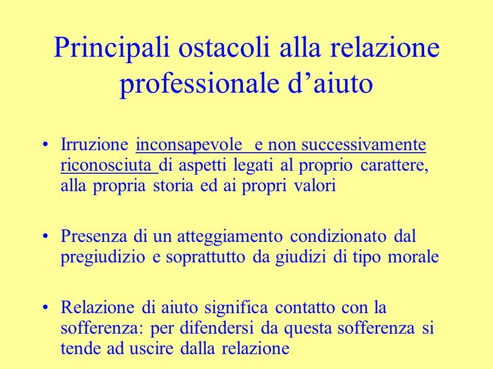 Principali ostacoli alla relazione professionale d'aiuto