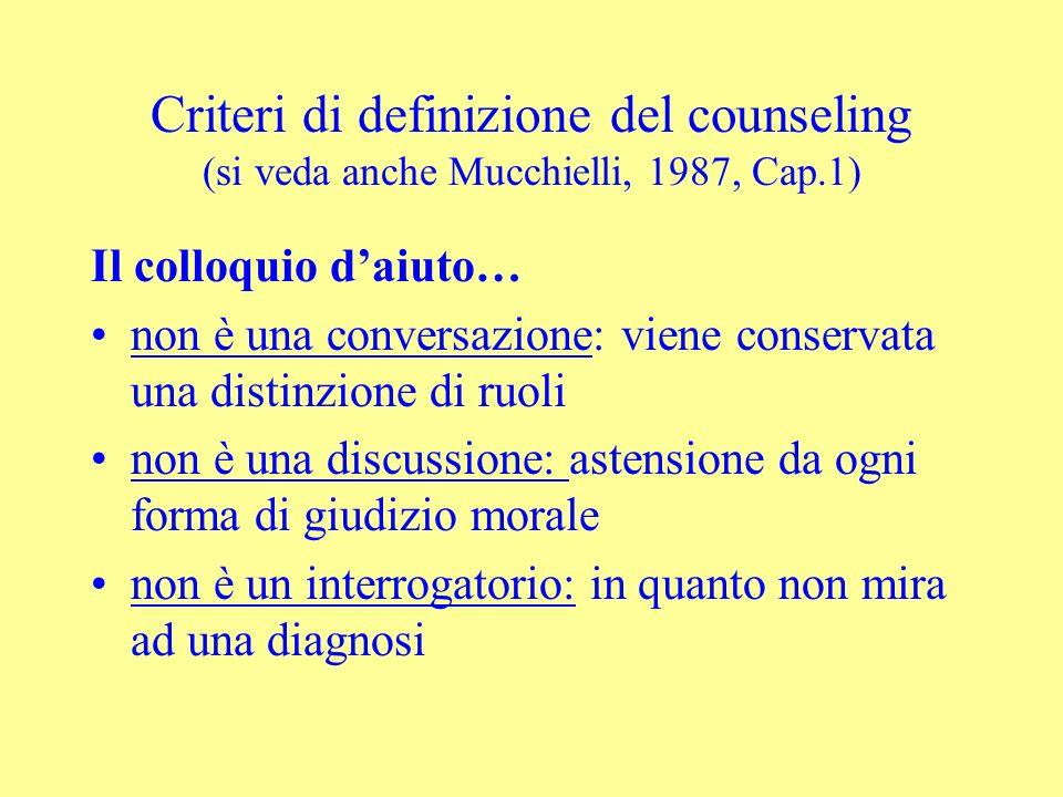 Criteri di definizione del counseling (si veda anche Mucchielli, 1987, Cap.1)