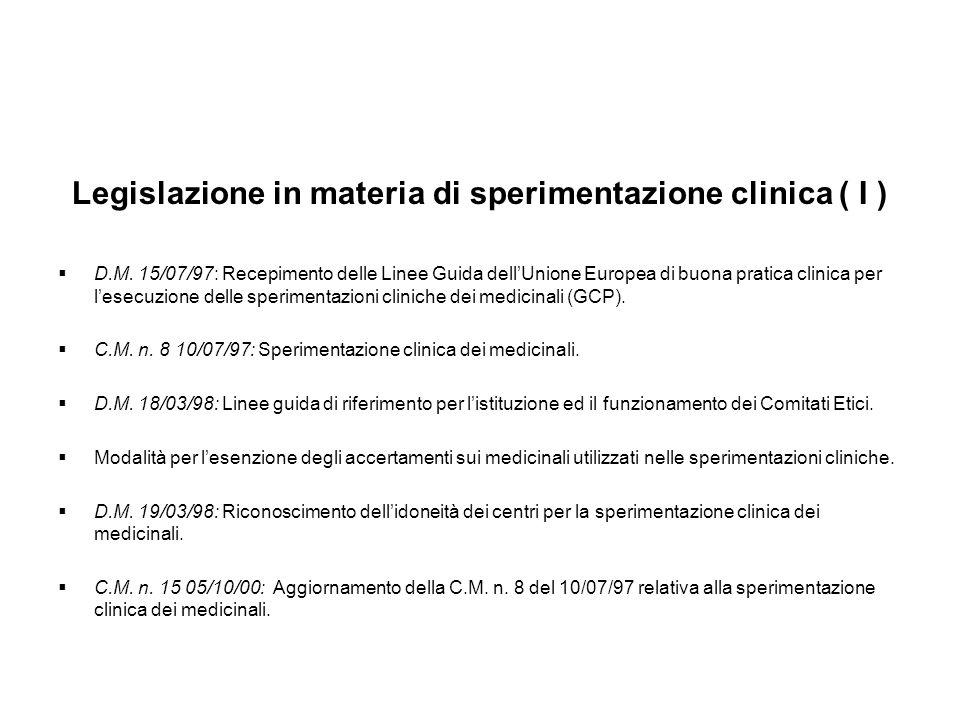 Legislazione in materia di sperimentazione clinica ( I )