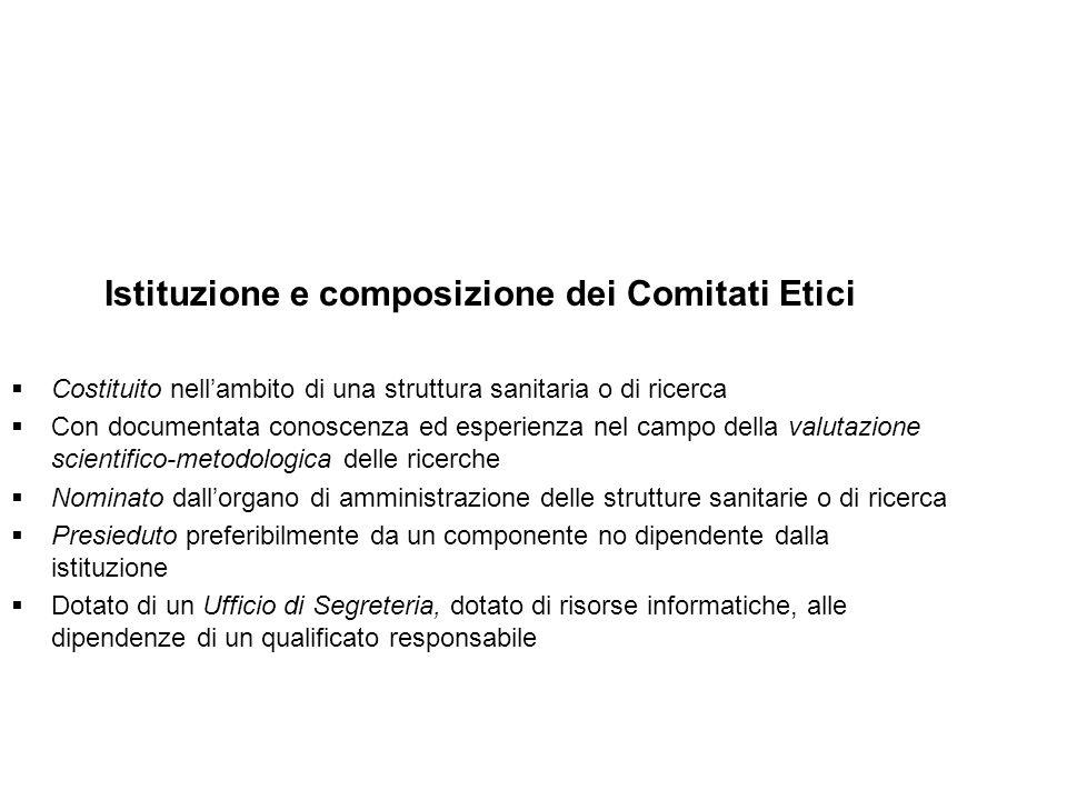 Istituzione e composizione dei Comitati Etici