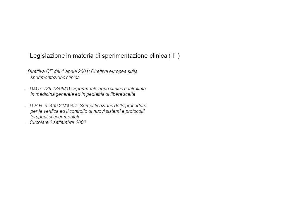 Legislazione in materia di sperimentazione clinica ( II ) Direttiva CE del 4 aprile 2001: Direttiva europea sulla sperimentazione clinica - DM n.