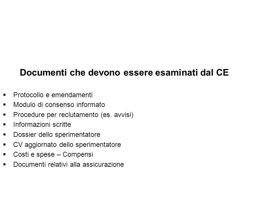 Documenti che devono essere esaminati dal CE