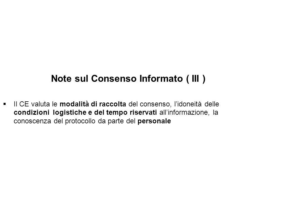 Note sul Consenso Informato ( III )