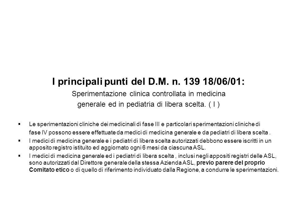 I principali punti del D.M. n. 139 18/06/01: