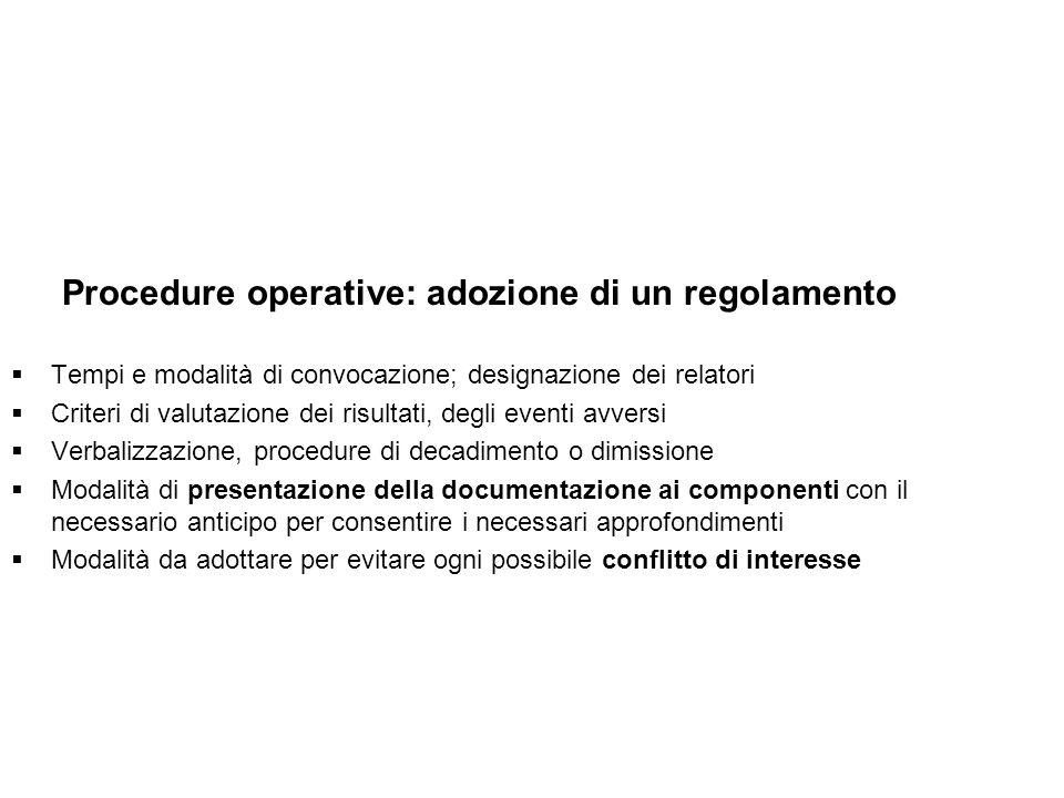 Procedure operative: adozione di un regolamento