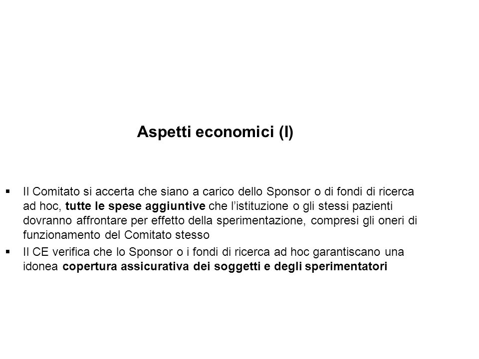 Aspetti economici (I)