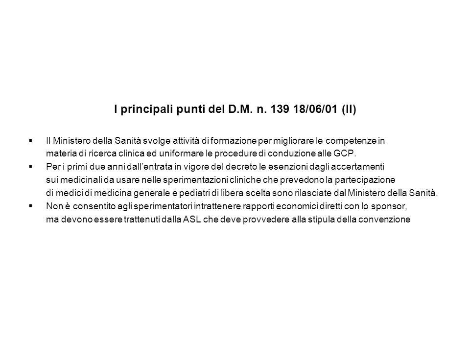 I principali punti del D.M. n. 139 18/06/01 (II)