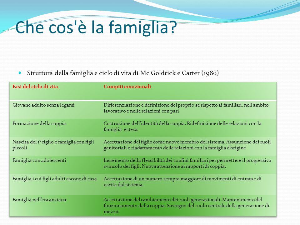 Che cos è la famiglia Struttura della famiglia e ciclo di vita di Mc Goldrick e Carter (1980) Fasi del ciclo di vita.