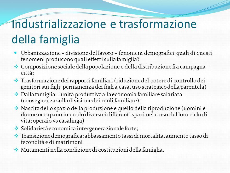 Industrializzazione e trasformazione della famiglia