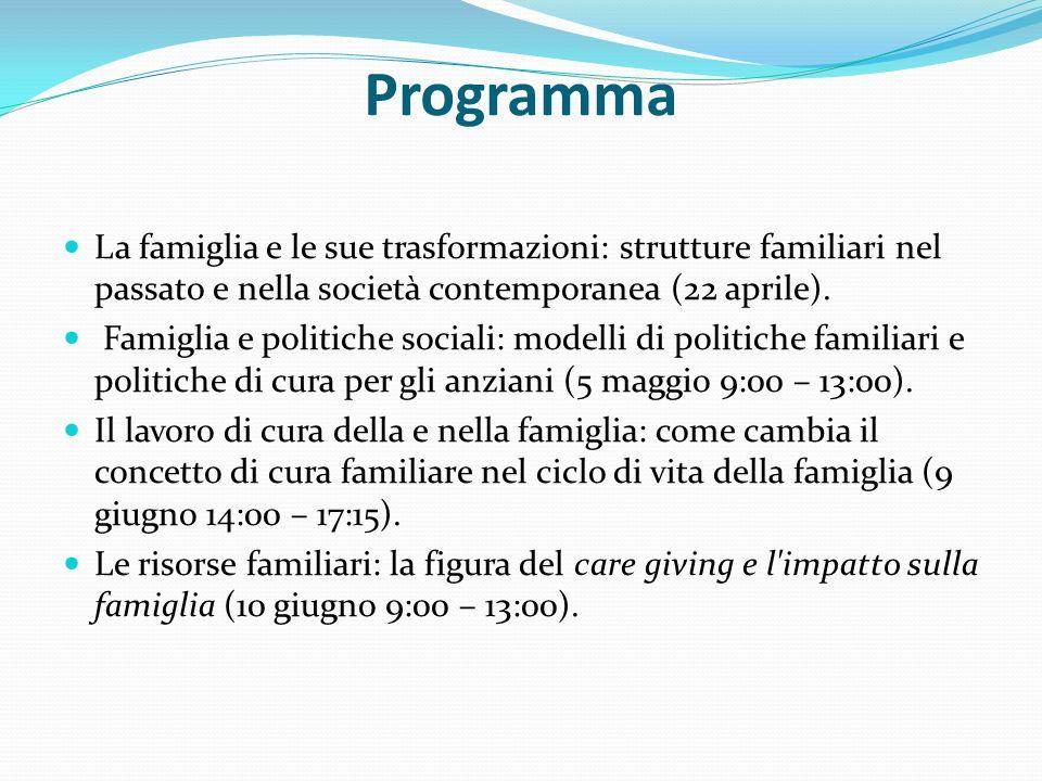 Programma La famiglia e le sue trasformazioni: strutture familiari nel passato e nella società contemporanea (22 aprile).