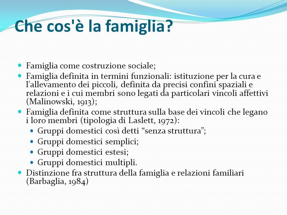 Che cos è la famiglia Famiglia come costruzione sociale;