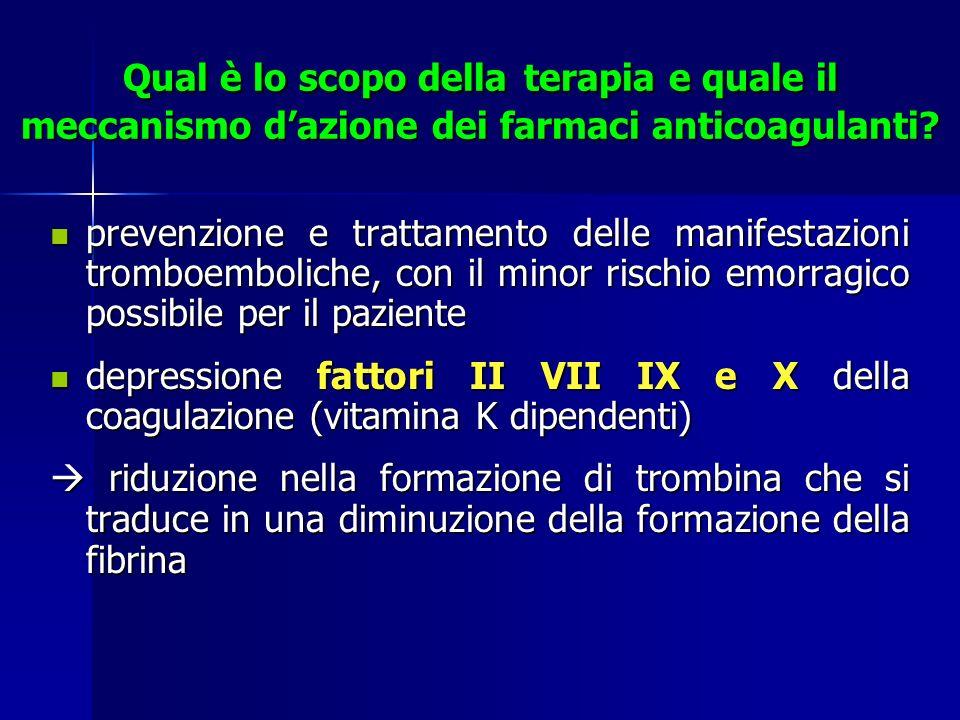 Qual è lo scopo della terapia e quale il meccanismo d'azione dei farmaci anticoagulanti