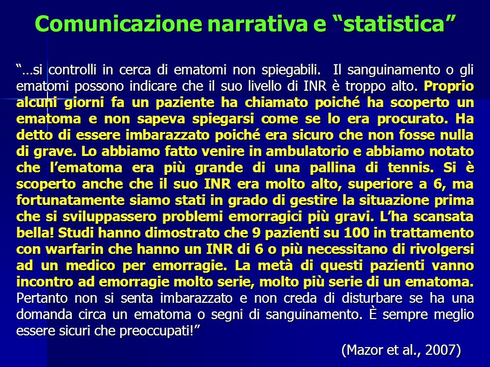 Comunicazione narrativa e statistica