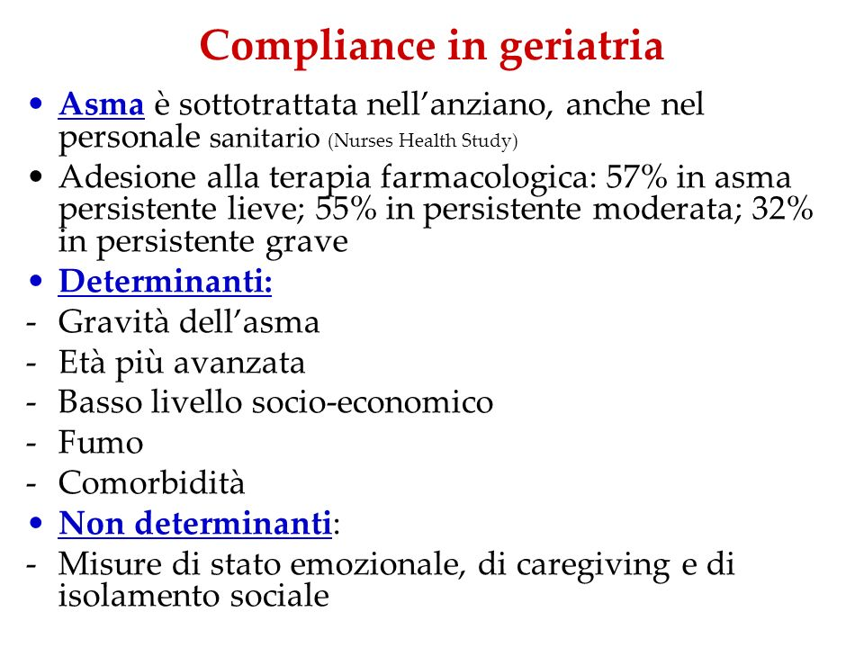 Compliance in geriatria