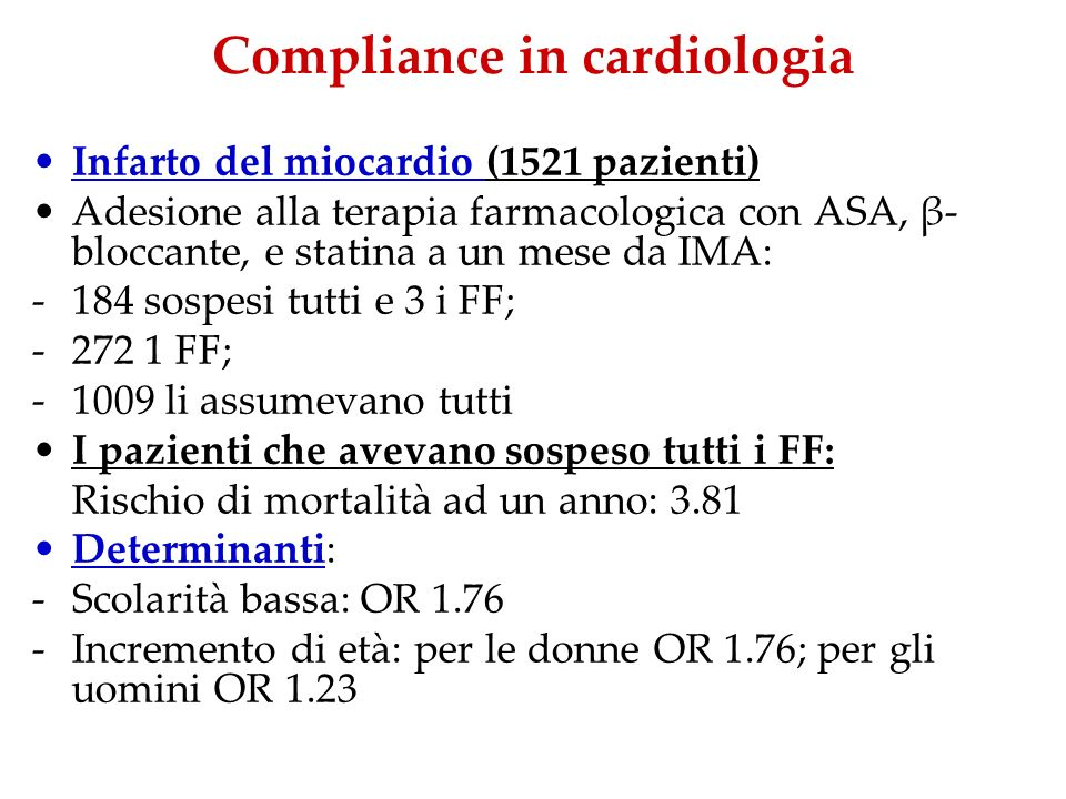 Compliance in cardiologia