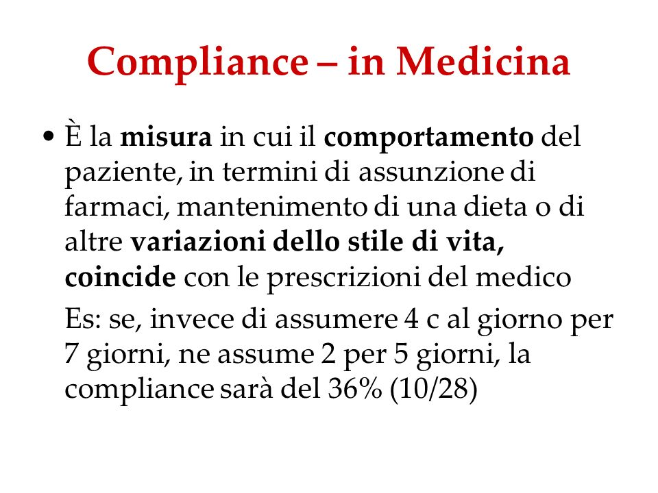 Compliance – in Medicina