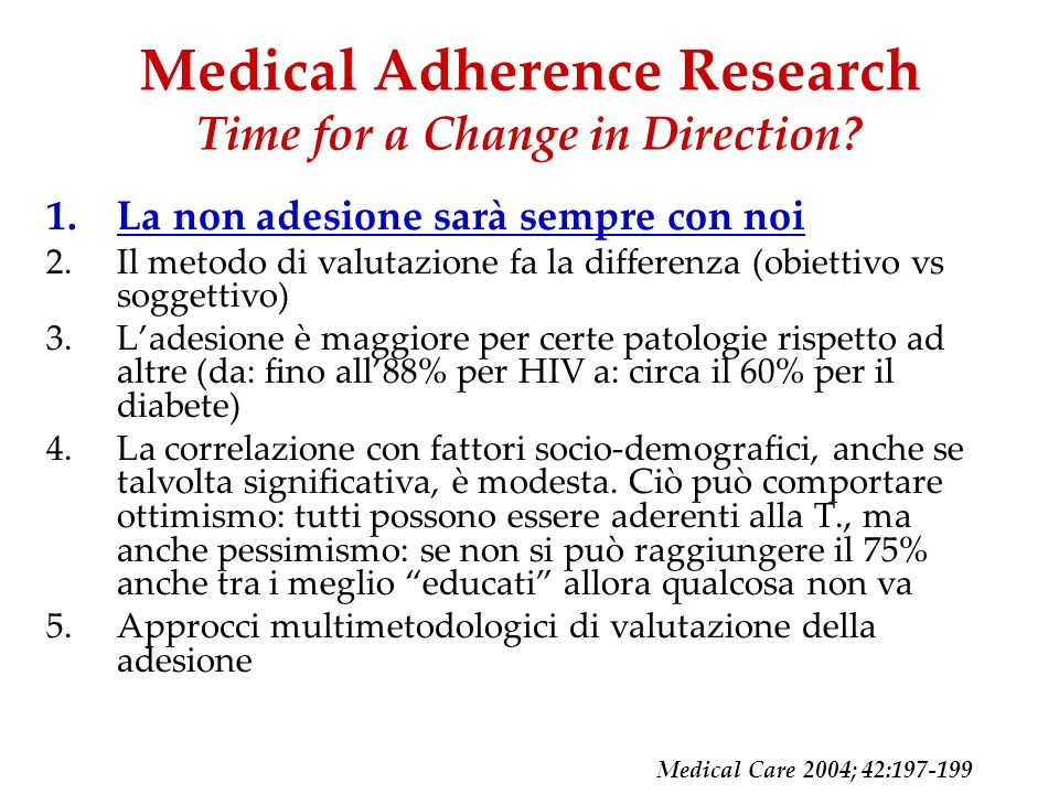 Medical Adherence Research Time for a Change in Direction