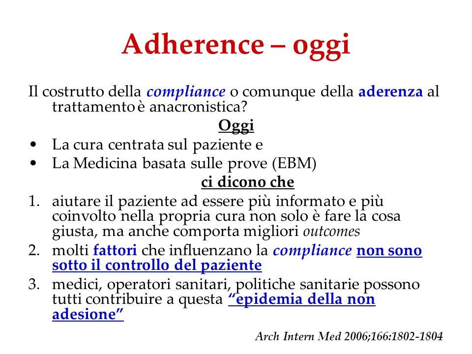 Adherence – oggi Il costrutto della compliance o comunque della aderenza al trattamento è anacronistica