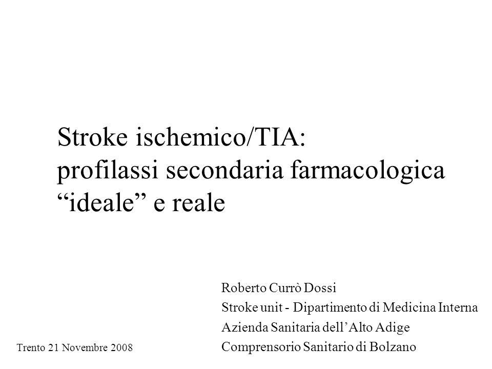Stroke ischemico/TIA: profilassi secondaria farmacologica ideale e reale